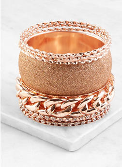 Plus Size Assorted Metallic Bangles Set - 1193071431230