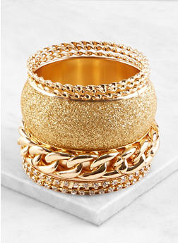 Plus Size Assorted Glitter Metallic Bangles Set - 1193071431230