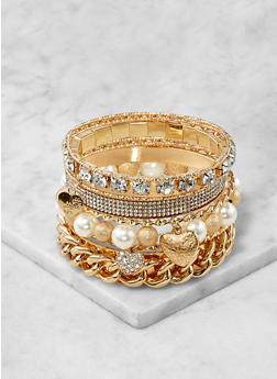 Faux Pearl Metallic Bangles - 1193071432422