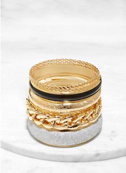 Plus Size Chain Glitter Bangles - 1193071435874