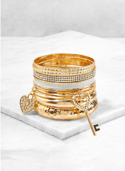 Rhinestone Glitter Charm Bangles Set - 1193072693733