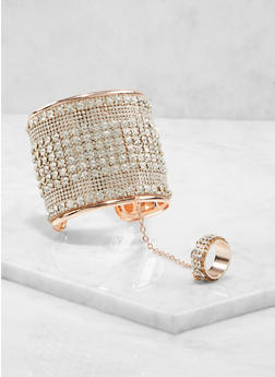 Rhinestone Cuff with Attached Ring - 1193072693803