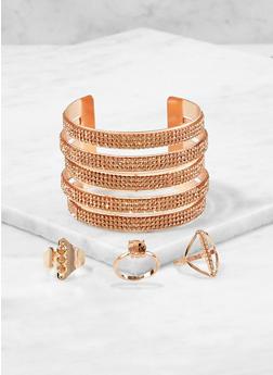 Rhinestone Cuff Bracelet with Ring Trio - 1193072693816