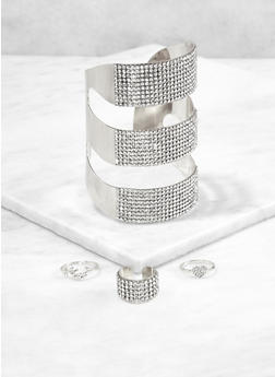 Rhinestone Cuff Bracelet and Ring Trio - 1193072693827