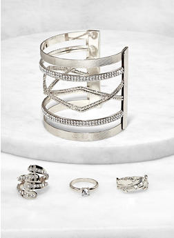 Open Cuff with Ring Trio - 1193072694843