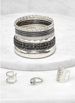 Assorted Metallic Bangles with Ring Trio - 1193072694847