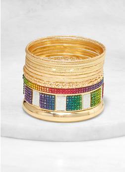 Plus Size Metallic Textured Bangles Set - 1193072694858