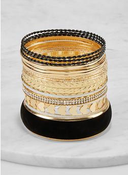 Plus Size Metallic Heart Glitter Bangles - 1193072694860