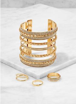 Rhinestone Cuff Bracelet with Ring Trio - 1193073841749