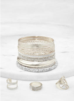 Druzy Bangles with Ring Trio - 1193073843361