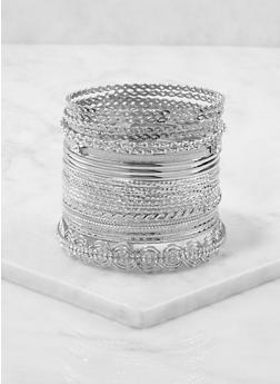 Plus Size Metallic Bangles Set - 1193073843520