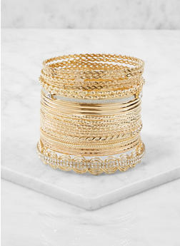 Plus Size Metallic Bangles Set - 1193073843520