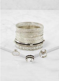 Plus Size Set of Metallic Bangles and Rings - 1193073843564