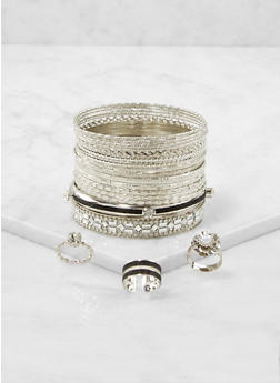 Plus Size Set of Metallic Bangles and Rings - 1193073843564