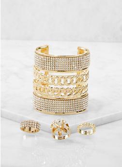 Rhinestone Cuff Bracelet and Rings Set - 1193073843813