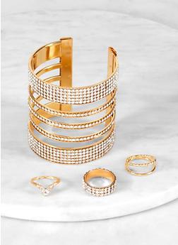 Ring Trio with Rhinestone Cuff Bracelet - 1193073843851