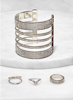 Rhinestone Caged Cuff with Ring Trio - 1193073843856