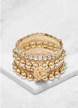 Set of 6 Metallic Stretch Bracelets - 1193074171713