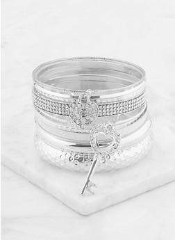Plus Size Set of Assorted Metallic Bangles - 1193074173309