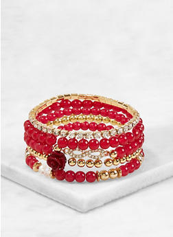 Beaded Rhinestone Stretch Bracelets - 1193074759120
