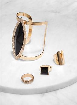 Statement Cuff Bracelet with Ring Trio - 1193074974056