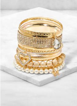 Faux Pearl Charm Bangles - 1193074974057