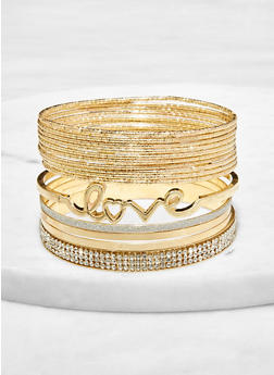 Plus Size Rhinestone Hammered Metallic Bangles - 1193074981917
