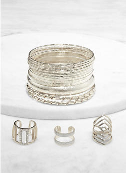 Plus Size Hammered Metallic Bangles and Rings - 1193074981918