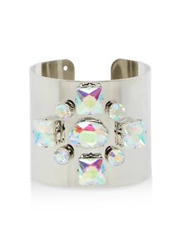 Metallic Rhinestone Cuff Bracelet - 1194018438117