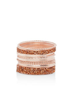 Beaded Rhinestone Bangle Set - 1194035150574