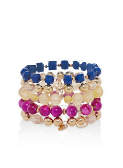 Set of 5 Stretch Charm Bracelets - 1194035153751