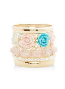 Flower Faux Pearl Bracelets - 1194035155075