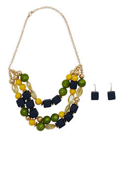 Large Geometric Beaded Necklace with Earrings - 1194035155458