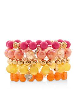 Beaded Charm Stretch Bracelets - 1194035155522