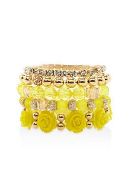 Flower Beaded Stretch Bracelets - 1194035158268