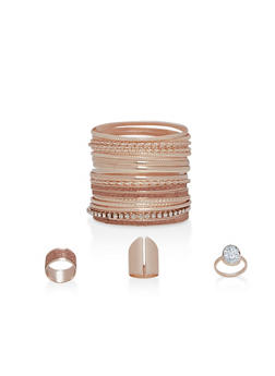 Set of Assorted Metallic Bangles and Rings - 1194057695583