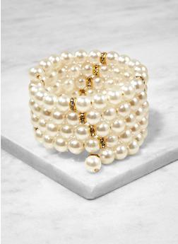 Faux Pearl Coil Bracelet - 1194057699808