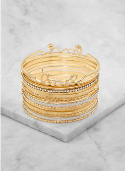 Set of Assorted Love Metallic Bangles - 1194062810635