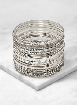 Set of 20 Assorted Metallic Bangles - 1194062812446