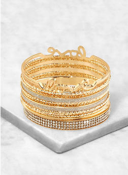 Set of 14 Rhinestone and Glitter Bangles - 1194062813347