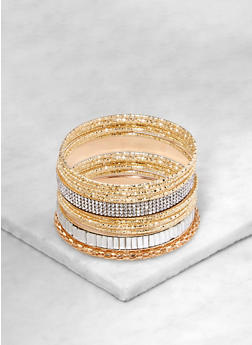 Assorted Rhinestone Studded Metallic Bangles - 1194062816001