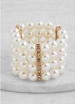 Rhinestone Bar Faux Pearl Stretch Bracelet - 1194062816697