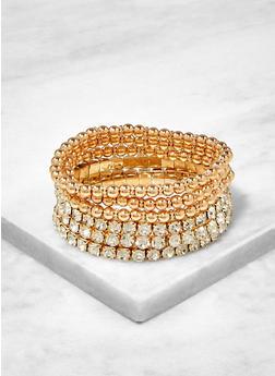 Rhinestone Beaded Stretch Bracelets - 1194062920104