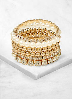 Set of Faux Pearl and Rhinestone Stretch Bracelets - 1194062920106
