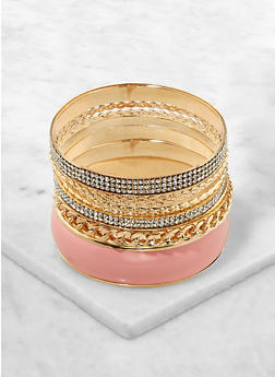 Set of 10 Assorted Rhinestone and Colored Bangles - 1194062921343