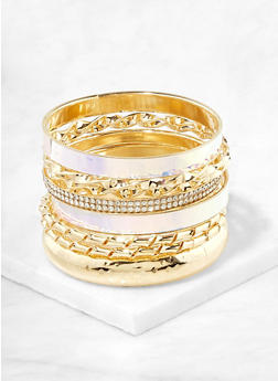 Assorted Iridescent and Metallic Bangles - 1194062921375