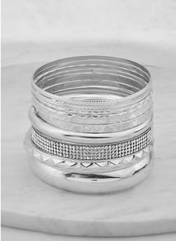 Plus Size Rhinestone Textured Metallic Bangles - 1194062923511