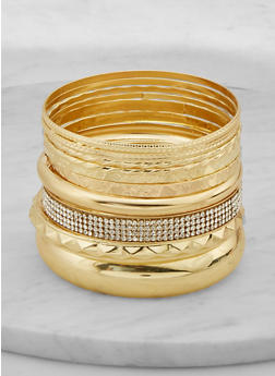 Plus Size Rhinestone Textured Metallic Bangles - 1194062923511