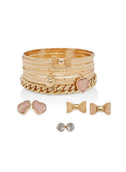 Set of Charm Bangles and Stud Earrings - 1194062924702