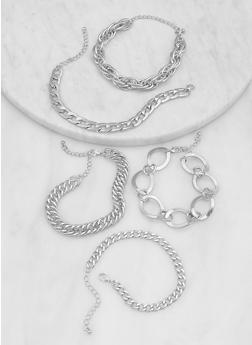 Set of 5 Curb Chain Bracelets - 1194062926209